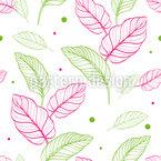 Lindos contornos de hojas Estampado Vectorial Sin Costura