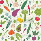 Gemaltes Gemüse Nahtloses Vektormuster