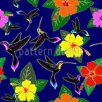 Hummingbird And Hibiscus Seamless Vector Pattern Design