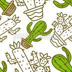 Cacti Doodle Seamless Vector Pattern Design