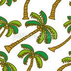 Coconut Palms Seamless Vector Pattern Design