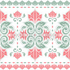 Damask With Leaf Borders Vector Pattern