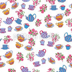 Teapots And Flowers Seamless Vector Pattern Design