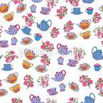 Teekannen Und Blumen Nahtloses Vektormuster