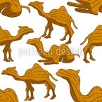 Camel Woodcarving Seamless Vector Pattern Design