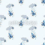 Raindrops Fall From Clouds Seamless Vector Pattern Design