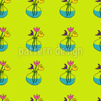 Цветы в стеклянных вазах Бесшовный дизайн векторных узоров