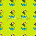 Flowers In Glass Vases Seamless Vector Pattern Design