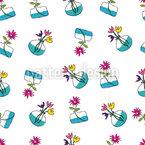 Flowers In Vases Seamless Vector Pattern Design