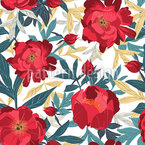 Splendid Peonies Seamless Vector Pattern Design