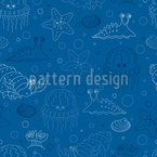 Hermit Crab And Friends Seamless Vector Pattern