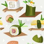 Variedade De Sushi Design de padrão vetorial sem costura