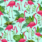 Flamingos In Paradise Seamless Vector Pattern Design