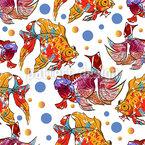 Aquarell Goldfisch Nahtloses Vektormuster