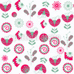 Nice Fantasy Flowers Vector Pattern