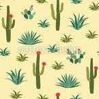 Desert Cacti Seamless Vector Pattern Design