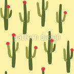 Flowering Cactus Seamless Vector Pattern Design