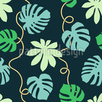 Tropical Leaf Tendrils Seamless Vector Pattern Design