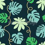 Tropical Leaf Tendrils Vector Ornament