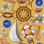 Nautische Marineobjekte Nahtloses Vektor Muster