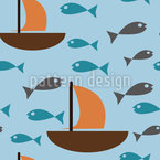 Einfaches Boot Und Fisch Muster Design