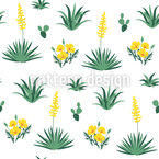 Desert Flowers Seamless Vector Pattern Design