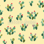 Colorful Opuntia Cactus Seamless Vector Pattern