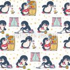 Pinguin Frühjahrsputz Nahtloses Vektormuster