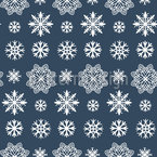 Trendy Snowflakes Seamless Vector Pattern