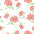 Doodled Poppy Blossom Repeating Pattern