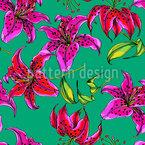 Lírios Brilhantes Design de padrão vetorial sem costura