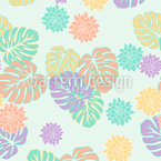 Happy Philodendron Seamless Vector Pattern Design