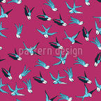 Flying Swallow Seamless Vector Pattern Design