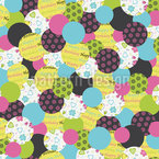 Birthday Buttons Green Seamless Vector Pattern Design