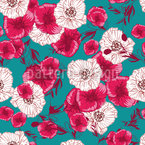 Hand Drawn Poppies Repeating Pattern