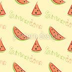 Wassermelone und Aufschrift Rapportmuster