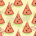 Wassermelone und Aufschrift Vektor Ornament