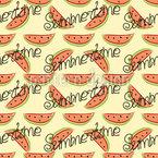 Wassermelone Und Schriftzug Nahtloses Vektor Muster