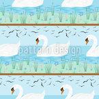 Schwäne Auf Einem Ruhigen See Nahtloses Vektormuster