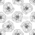 Outline Poppies Repeat Pattern