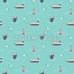 Boats and Lighthouse Seamless Pattern