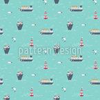 Boote und Leuchtturm Nahtloses Muster