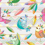 Ethnic Birds Seamless Vector Pattern Design