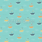 Boats and Flags Vector Ornament