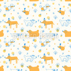 Dogs With Hats Seamless Vector Pattern