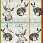 Where Stag And Hare Seamless Vector Pattern Design