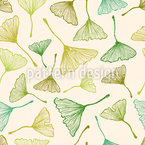 Ginkgo Biloba Leaves Seamless Vector Pattern Design