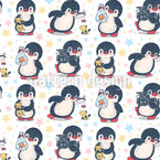Happy Penguins Repeat Pattern