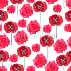 Roses and Poppies Repeat Pattern