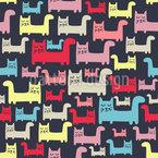 Chats détendus Motif Vectoriel Sans Couture